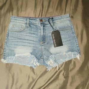 Fashion Nova distressed jean short shorts